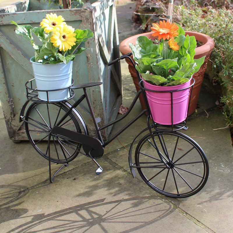 Black Rustic Bicycle Plant Holder Bike Planter Garden Flowers Potting  Outdoors