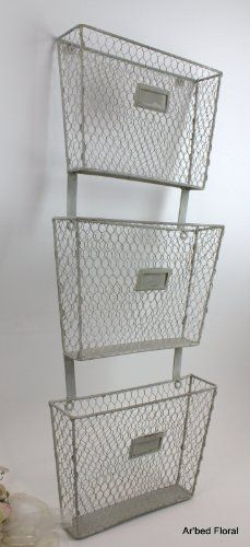 3 Tier Primitive Iron Wall Mounted Basket File Folder Magazine Holder Wire Folder Holder Hanging File Folders File Holder