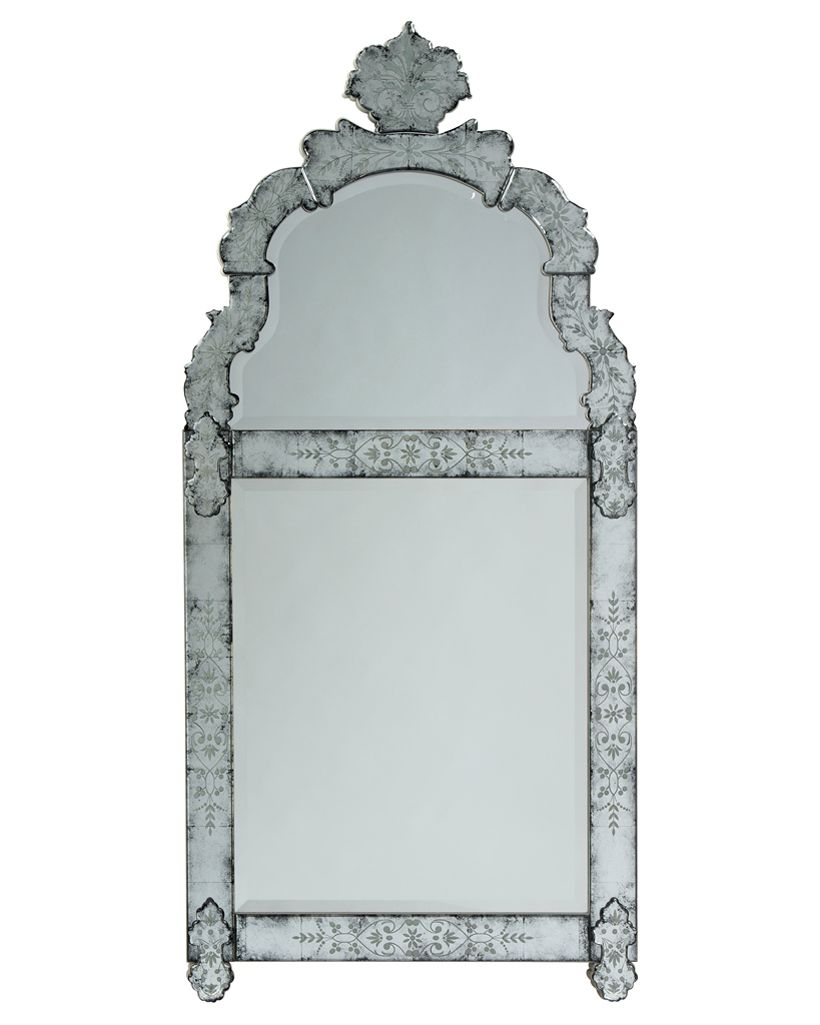 John Richard cartouche two beveled edge mirrors w/ etched eglomise ...