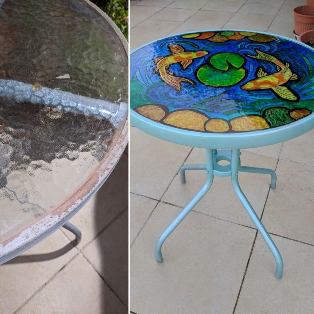 Diy faux stained glass pond in a table faux stained
