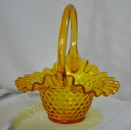 Kanawha Art Glass Yellow Hobnail Basket w Ruffle Edge Handcrafted Glassware