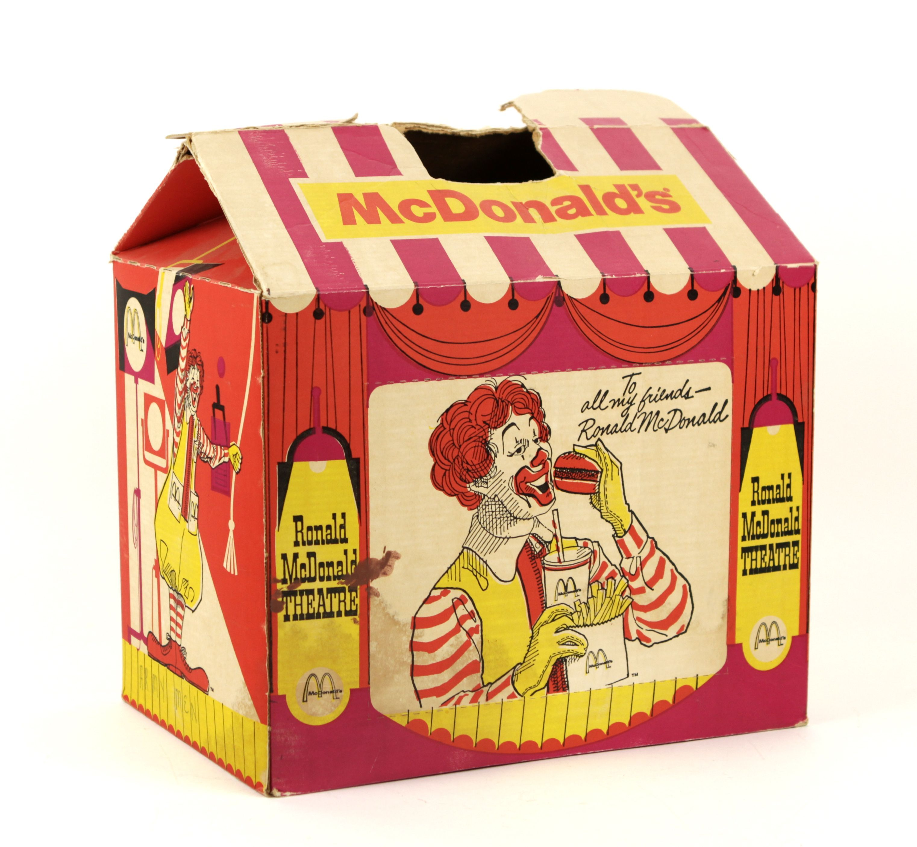 Old Mcdonald S Logo: 1960's Ronald McDonald Theatre Takeout Box Happy Meal