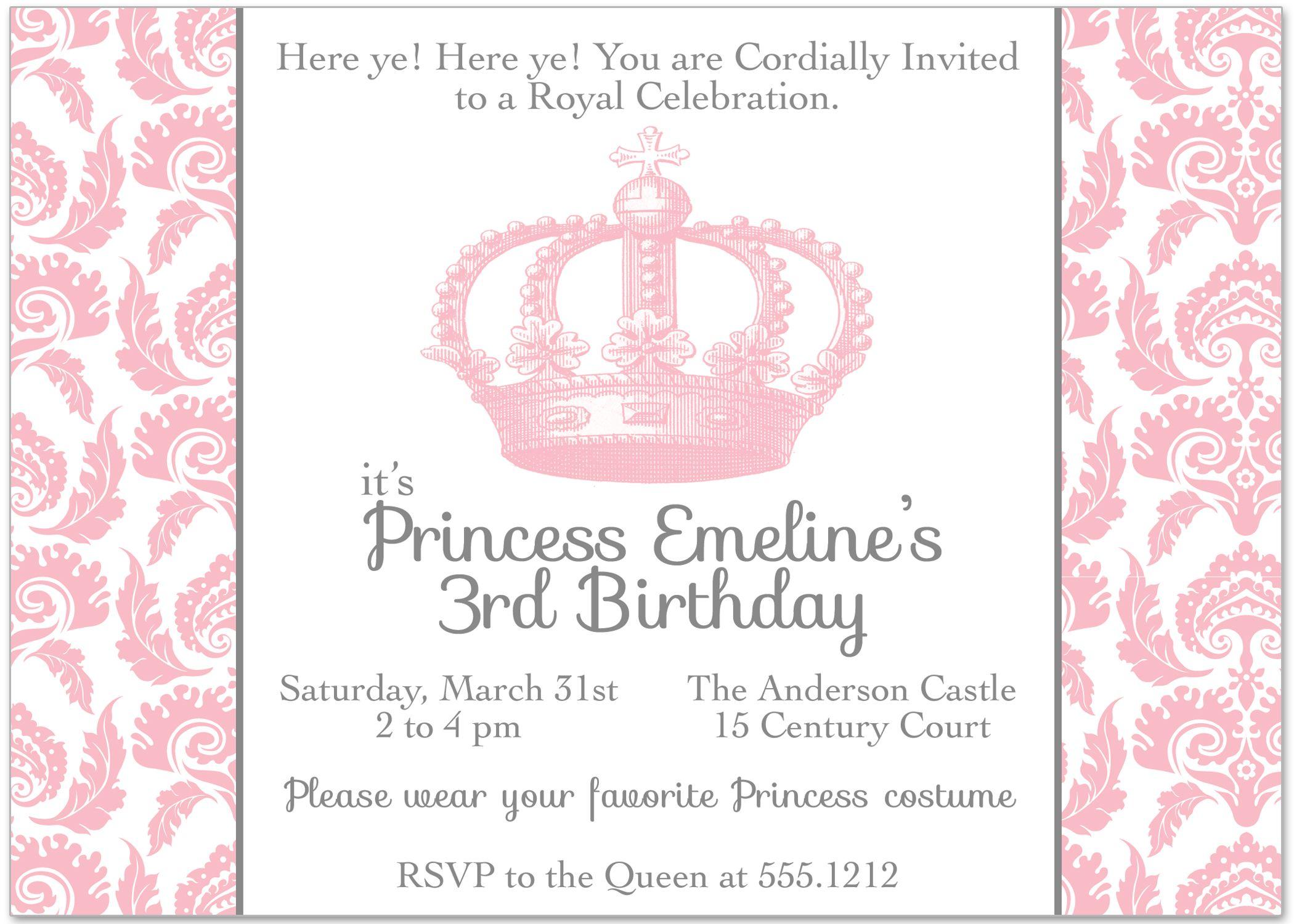 Vintage Princess Party Birthday Invitation | Princess ...