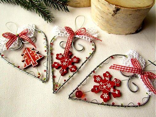 Srdiečko červeno-biele by astra - SAShE.sk - Handmade Vianoce