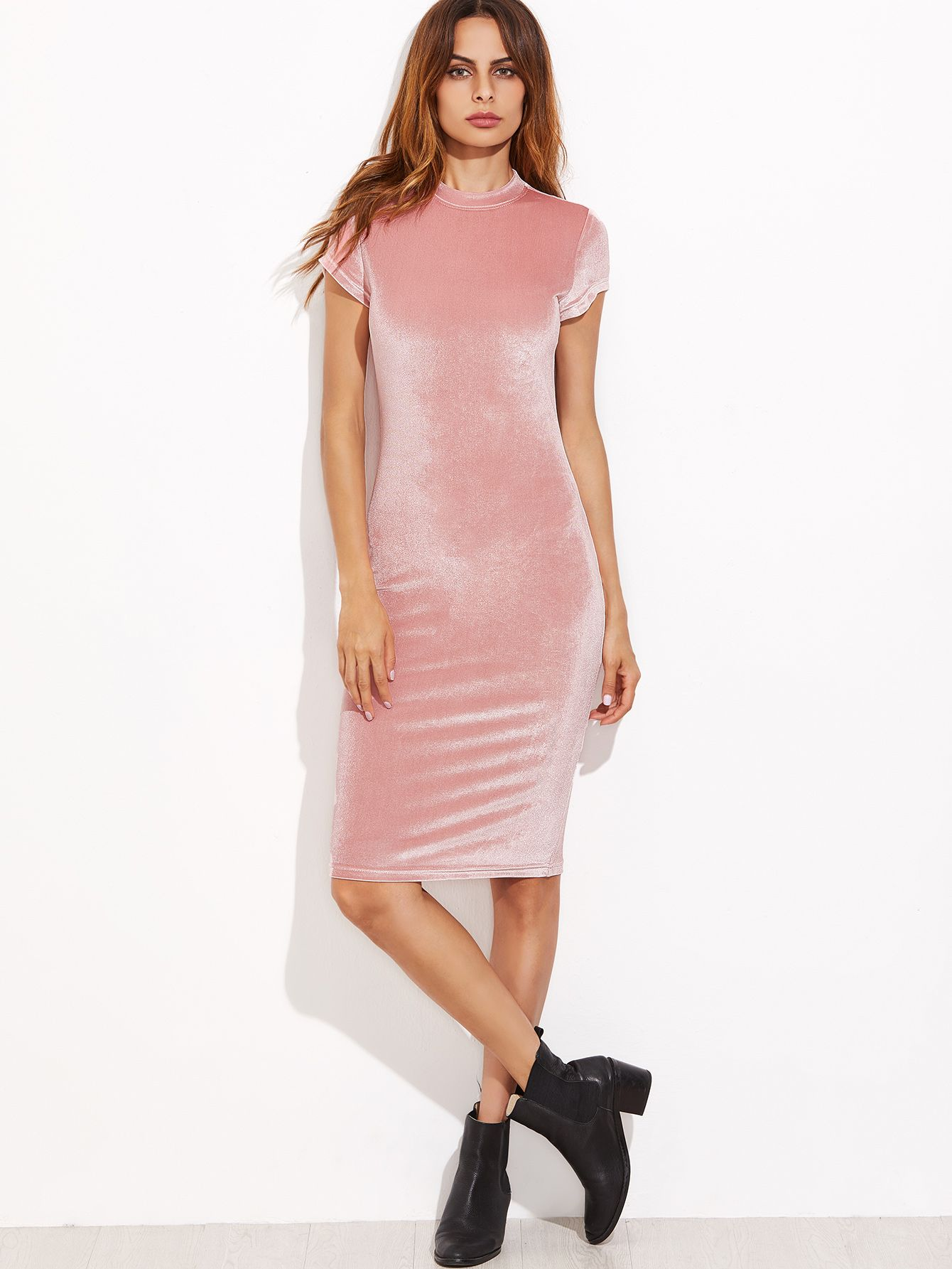 Vestido de tubo de terciopelo con cuello alto, rosa (Sheinside. 10 ...
