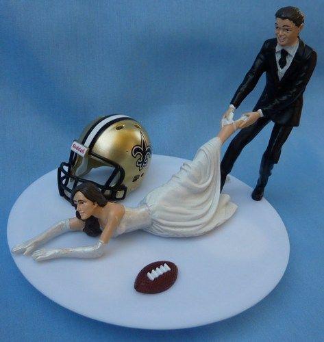 New Orleans Wedding Ideas: New Orleans Saints G Football Themed Wedding Cake Topper