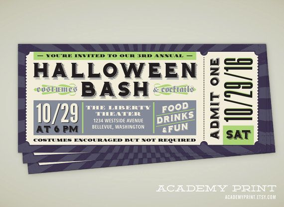 Printable Halloween Ticket Invitation - Halloween Party Ticket - invitation ticket