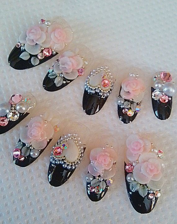 japanese 3d nails black french roses 3d nails fake nails on Etsy ...