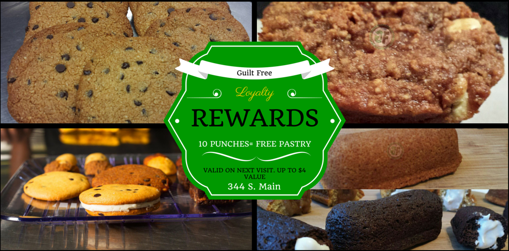 Introducing: Guilt Free Loyalty Rewards, our new frequent customer program! Buy 10 get the next one on us. Up to $4 value *In store purchases only* #GuiltFreeSavings