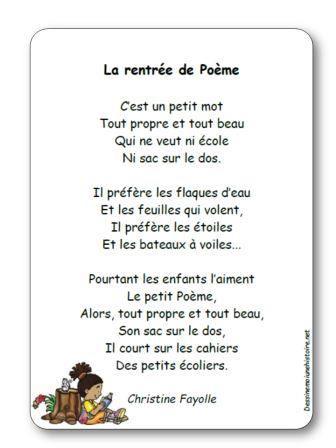 """Bevorzugt Poésie La rentrée de Poème de Christine Fayolle - """"La rentrée de  OI42"""