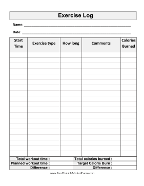 this printable exercise log has large print columns for physical activities and calories burned