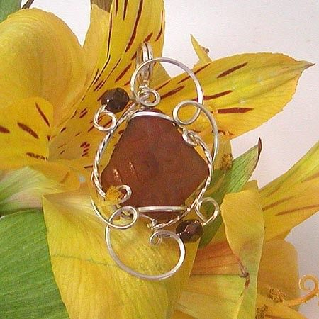 Sultry Brown Sea Glass Silver Mini Sculpted Pendant