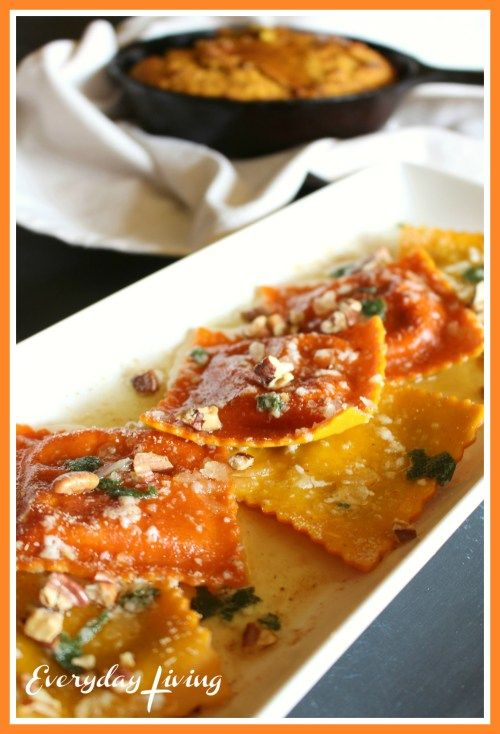 Pumpkin Ravioli with Sage Butter and Toasted Pecans