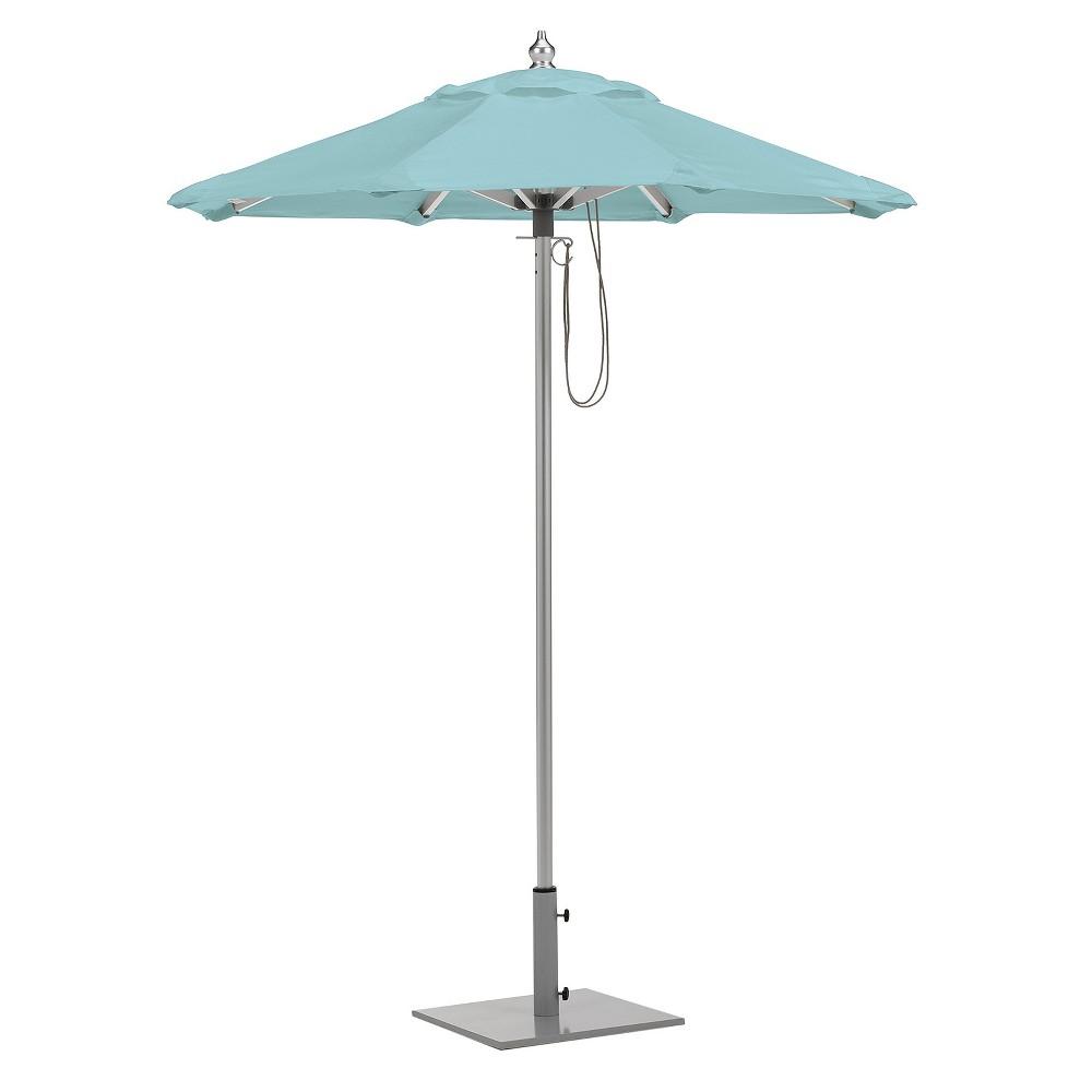6 Octagon Sunbrella Market Umbrella Brushed Aluminum