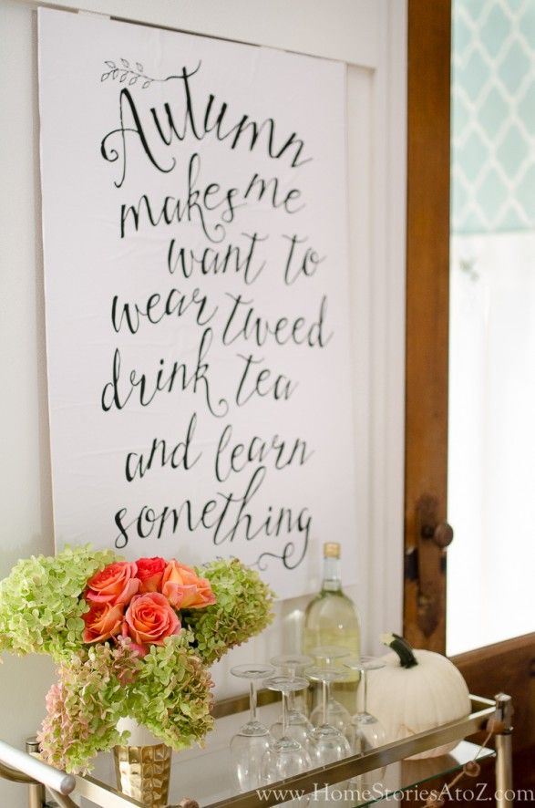 Fall Decorating Home Tour Fall Decor Ideas | Bar carts Chalkboards and Craft. & Fall Decorating Home Tour: Fall Decor Ideas | Bar carts Chalkboards ...