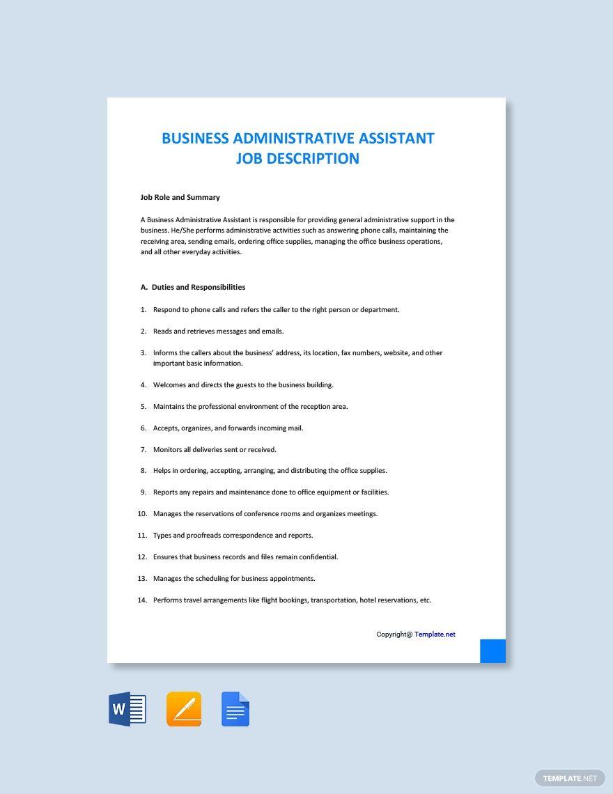 Free business administrative assistant job addescription