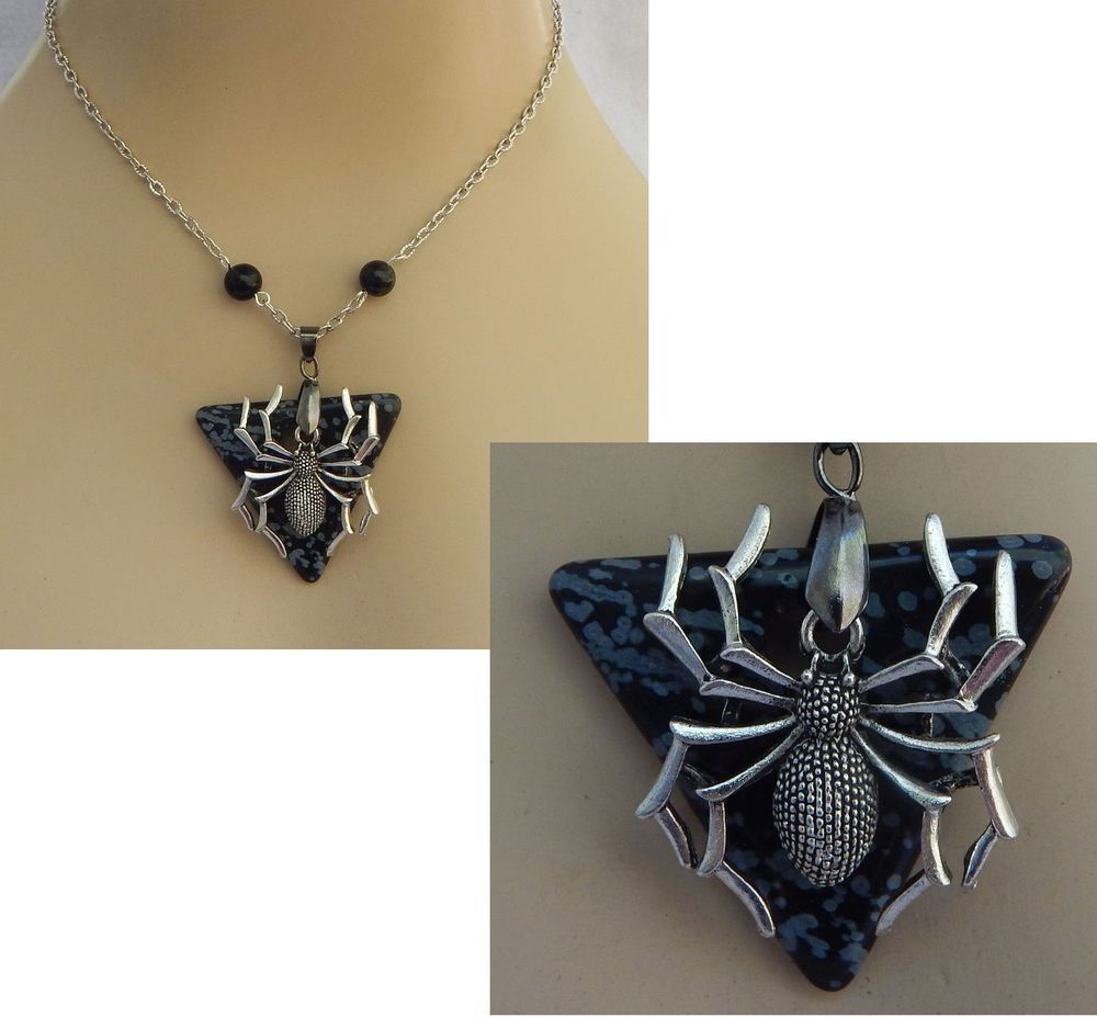 Silver black spider pendant necklace jewelry handmade new chain silver black spider pendant necklace jewelry handmade new chain accessories aloadofball Image collections