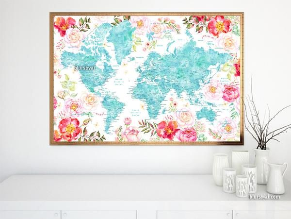 Floral world map printable with aquamarine land masses countries floral world map printable with aquamarine land masses countries states and cities gumiabroncs Image collections