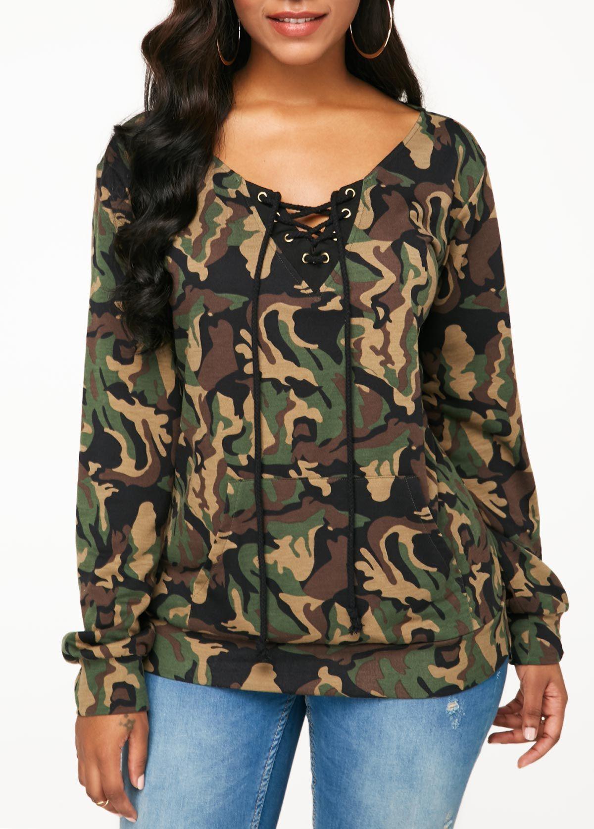 Kangaroo Pocket Lace Up Front Sweatshirt  9081ab310