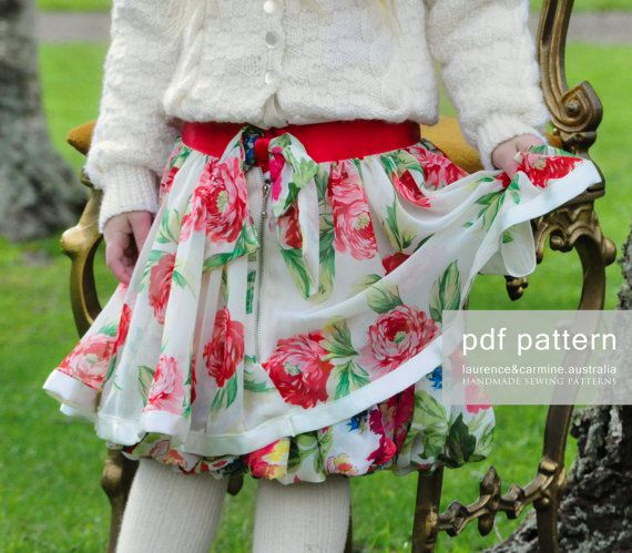 PDF Girls Sewing Pattern layer skirt Easy by laurenceandcarmine ...
