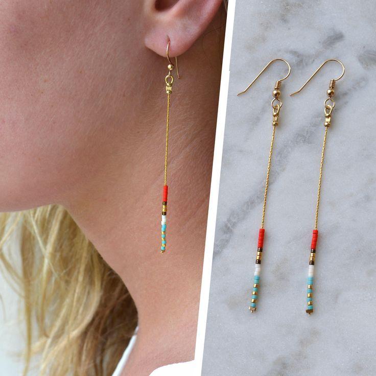 Photo of Thin dainty earrings, Minimal earrings, simple chain earrings, festival earrings, long minimalist earrings, thin dainty earring, dangle