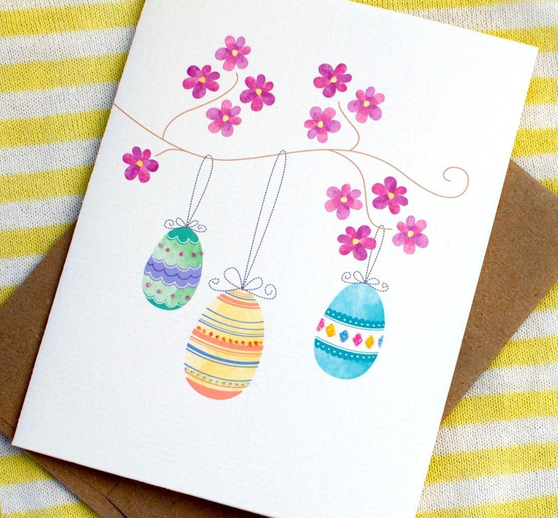 Adorable Watercolor Easter Card Easter Cards Handmade Diy