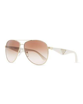 Double Bar Aviator Sunglasses, Gold/White by Prada at Neiman Marcus.