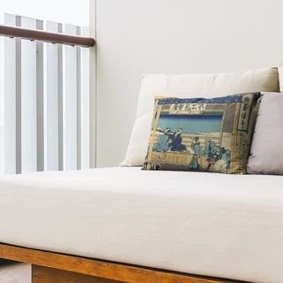 Yoshida at Tokaido Outdoor Lumbar Pillow (Tan & Blue - UV Resistant), Multicolor(Synthetic Fiber, Oriental)