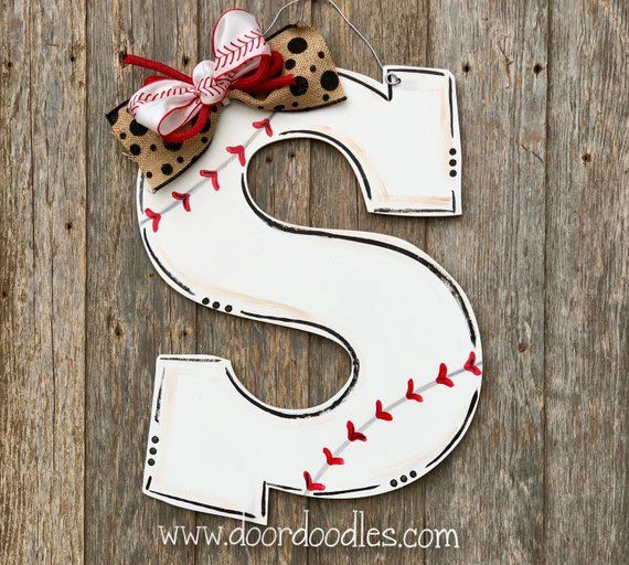 Letter Initial Monogram Baseball Or Softball Front Door Hanger Hang Wreath Decor Decoration Wood Wooden Custom Door Wreaths Door Hangers Letter Door Hangers
