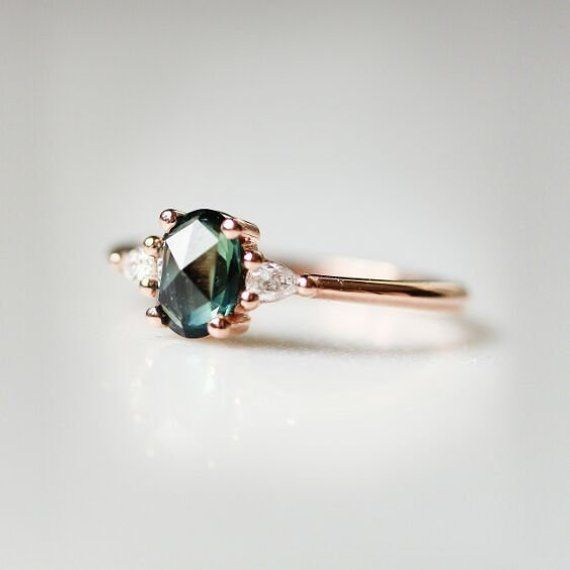 Photo of Green Sapphire Engagement Ring | Oval engagement ring | 3 stone rose gold ring | O…