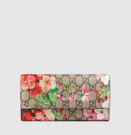 4a3bae467dc Gucci - gg blooms supreme canvas continental wallet 404070KU24N8693 ...
