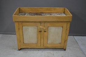 """Painted Dry Sink 34""""H, 43""""L, 20 1/2""""W"""