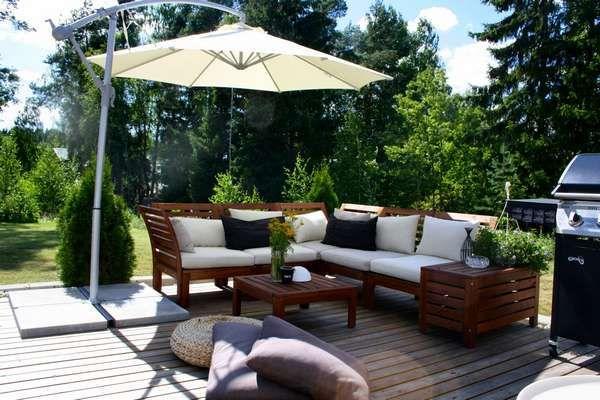 Aurinkovarjot Terassille