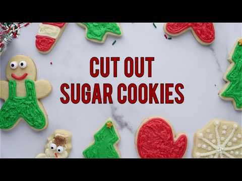 Cut out sugar cookies are perfect for the holidays! This recipe has ALL the options - a no chill option, a gluten free option, plus buttercream and royal icing recipes! The recipe is easy to follow with step by step pictures and a video tutorial! #cutoutsugarcookies #cutoutcookies