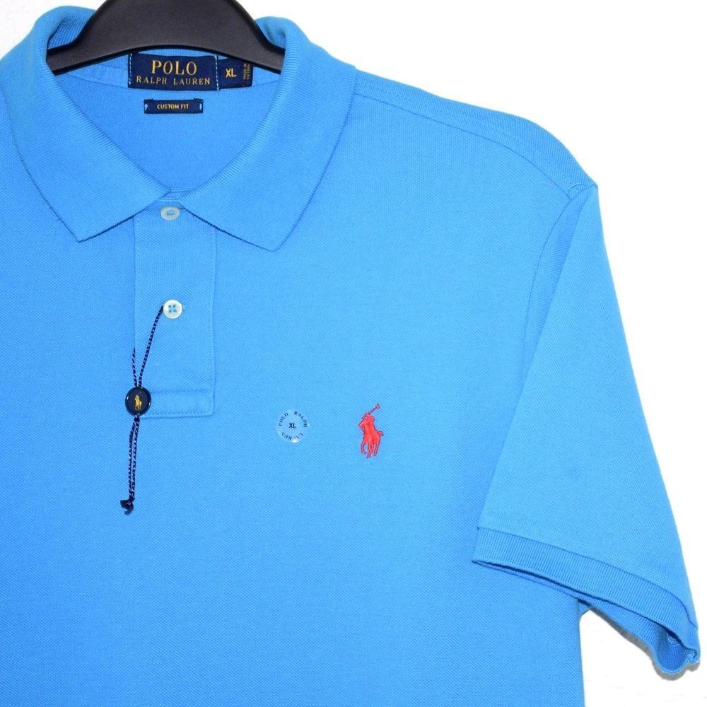 Ralph Lauren Mens Polo Shirt Pony Blue Custom Fit Short Sleeve Tennis Tail  XL #PoloRalphLauren