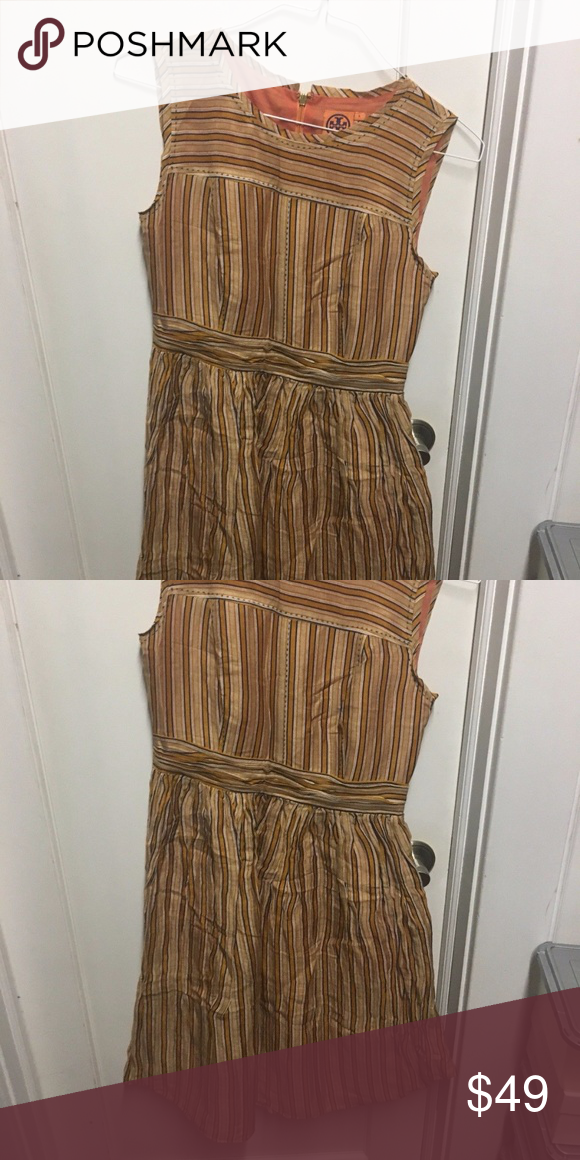 1640765d4ad Spotted while shopping on Poshmark  Tory Burch Brown Striped Sleeveless  Summer Dress 6!  poshmark  fashion  shopping  style  Tory Burch  Dresses    Skirts