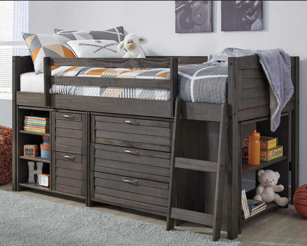 Caitbrook Twin Loft Bed With 1 Large Storage Drawer In 2020 Twin Loft Bed Loft Bed Loft Bed Frame