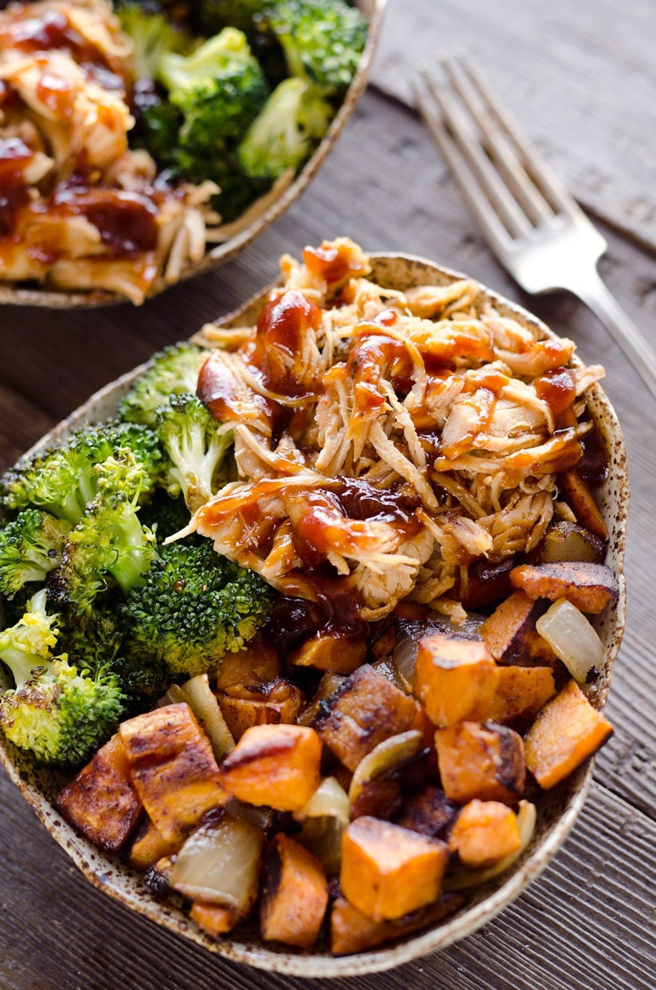 bbq chicken & roasted sweet potato bowls are a hearty and healthy