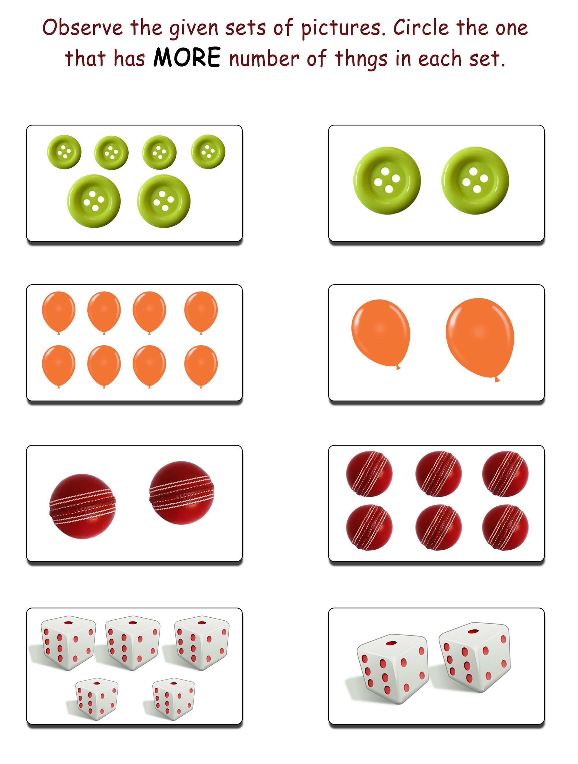 More And Less Worksheets Practice Using Worksheet To