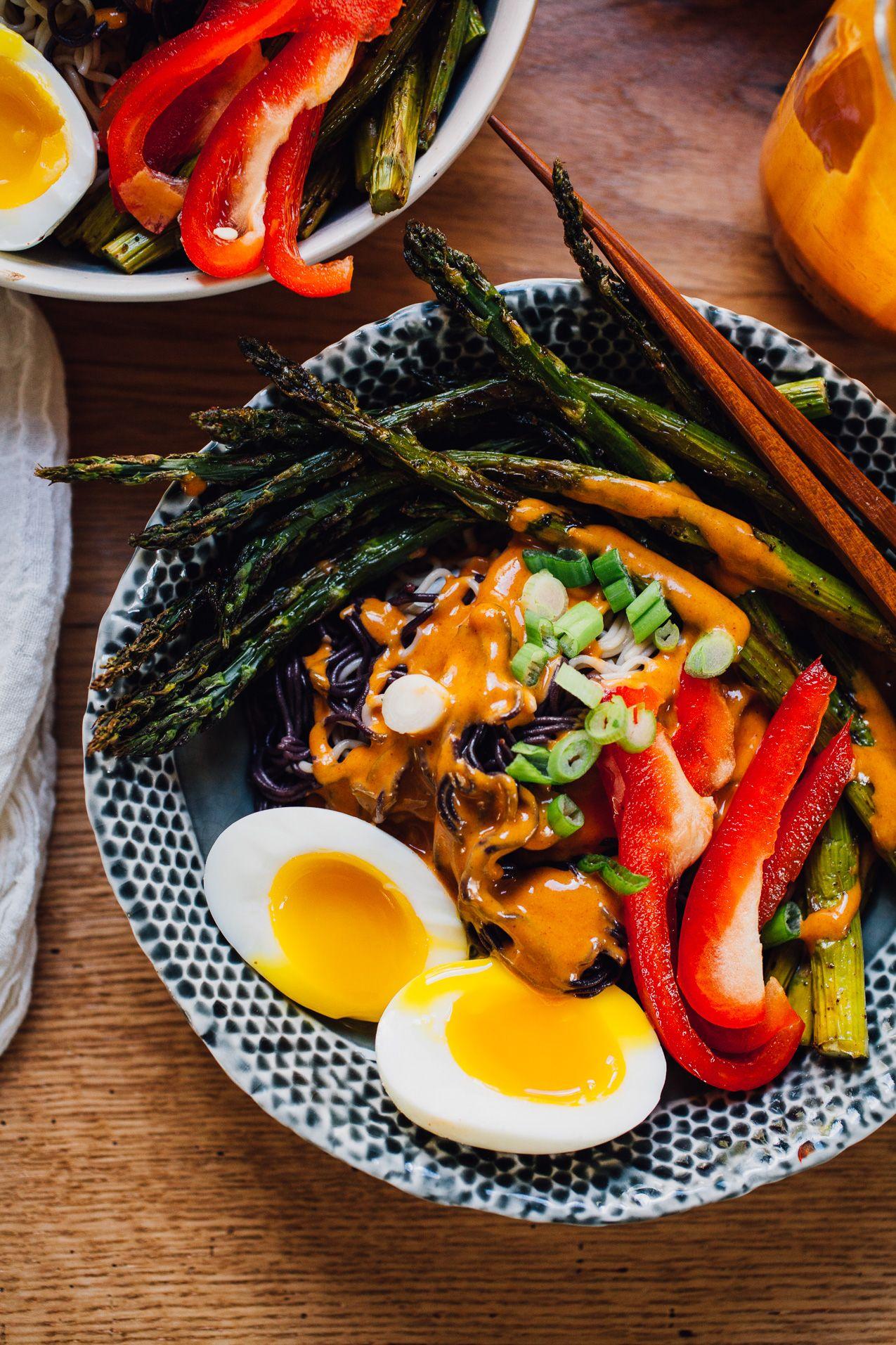 tahini gochujang ramen bowls with garlicky sumac roasted