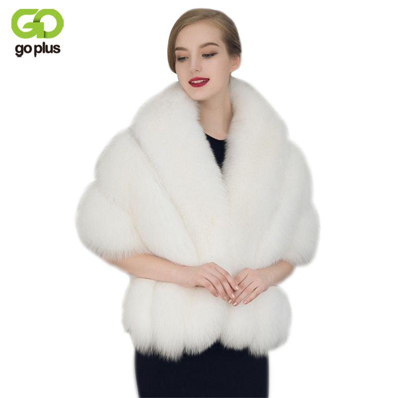 2cdd00007 GOPLUS 2017 New Faux Rex Rabbit Fur Coat Cloak Imitation Mink Fur Shawl  Female Black White Faux Fur Cloaks Bridal Shawl C3290 #Affiliate