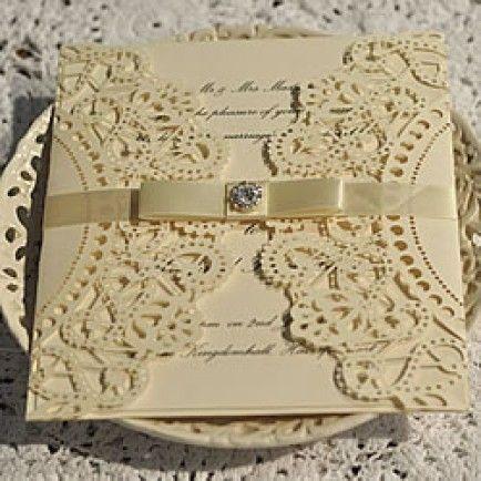 Doily Lasercut Wallet Ivory Convite De Casamento Convites De Casamento Com Renda Convites De Casamento Diferentes
