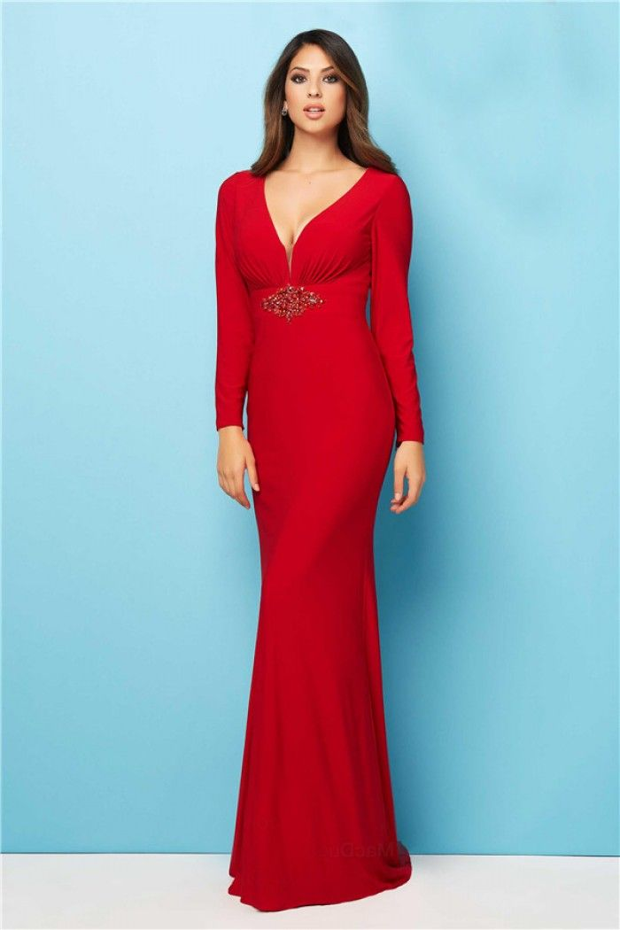 3c07eb2927cd Fitted Deep V Neck Long Sleeve Red Jersey Evening Prom Dress