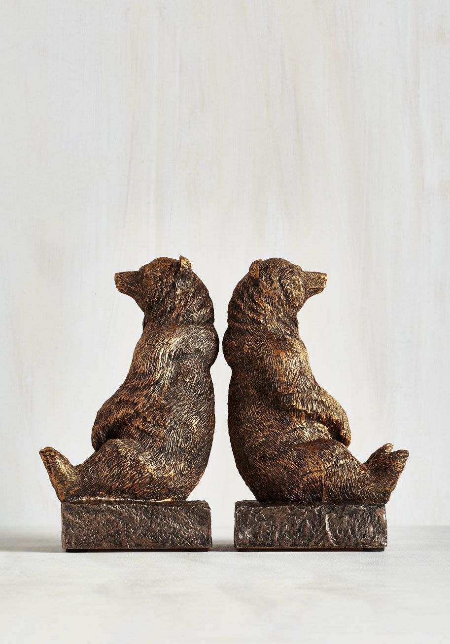 A Tale of Two Grizzlies Bookends. Keep all your classics nestled with nature-inspired style between these brushed bear bookends! #brown #modcloth