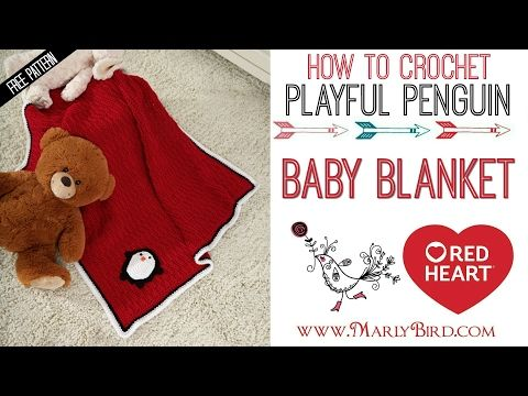 How to Crochet Playful Penguin Baby Blanket  | Red Heart