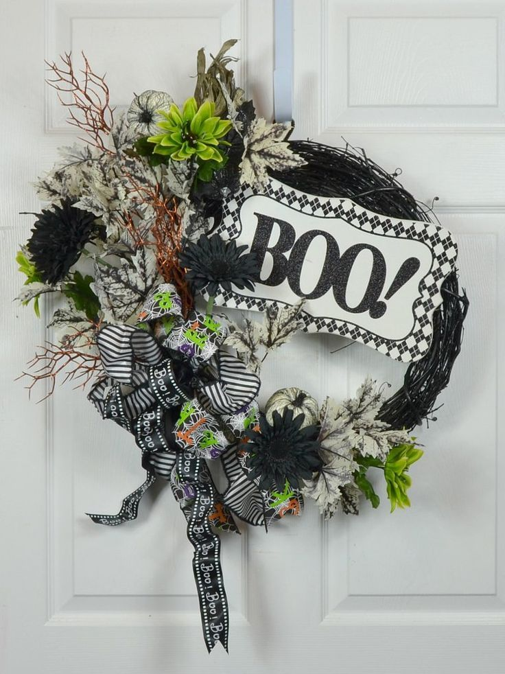 Halloween Door Decor Wreath with \ - pinterest halloween door decor