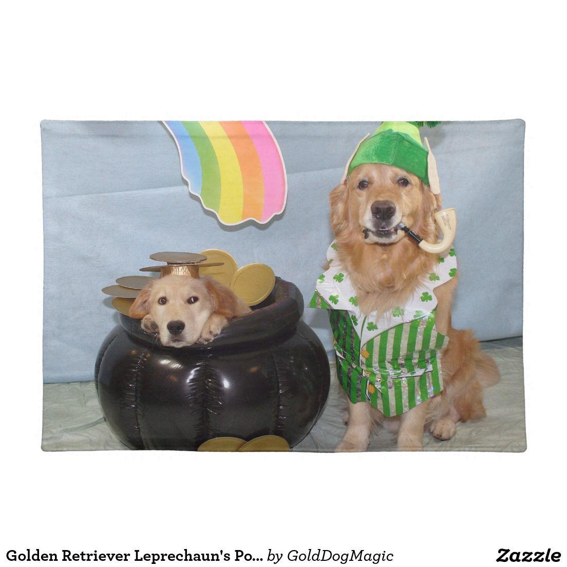 Golden Retriever Leprechaun S Pot Of Gold Placemat Zazzle Com