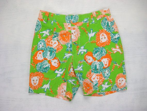 e2310e2170e20 Lilly Pulitzer Lion Tiger Dove Shorts Vintage Retro Men's Stuff Palm Beach  Animal Olive Branch Print Fabric Short Pants Size 30/31 Small