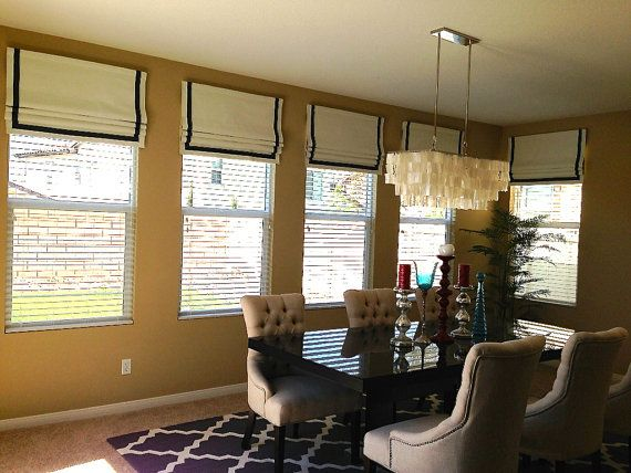 Faux Fake Flat Roman Shades Valance With Grosgrain Ribbon The Perfect Solution Lots Of Color