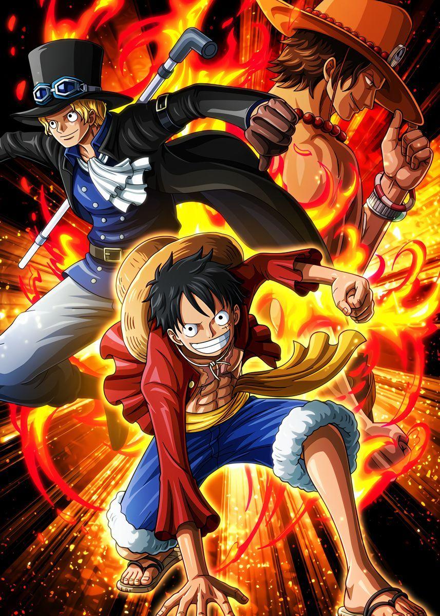 Luffy Sabo Ace Poster Art Print By Onepiecetreasure Displate Personagens De Anime Desenho De Uma Peça Tatuagens De Anime